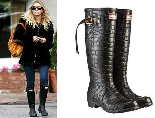 Ashley Olsen in Jimmy Choo Hunter Boots