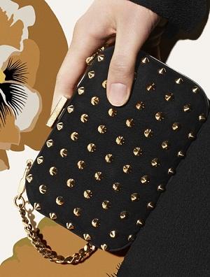 Broadway studded black nubuck evening bag