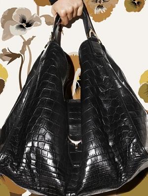 Soft stirrup black crocodile shoulder bag