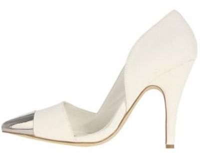 Zoom Footwear | Kristen | Silver Toe Cap Stilettos in White