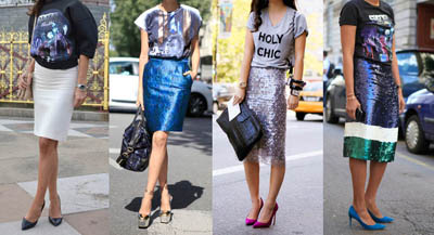 Street Style Trend   T-Shirts and Pencil Skirts