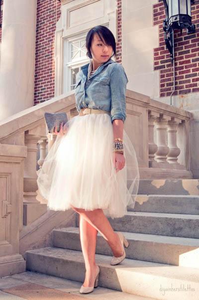 Street Style Trend | Tulle Skirts & Denim Shirts | www.diyainherstilettos.com