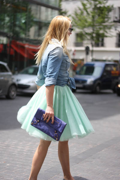Street Style Trend | Tulle Skirts & Denim Shirts | www.mylittlefashiondiary.net