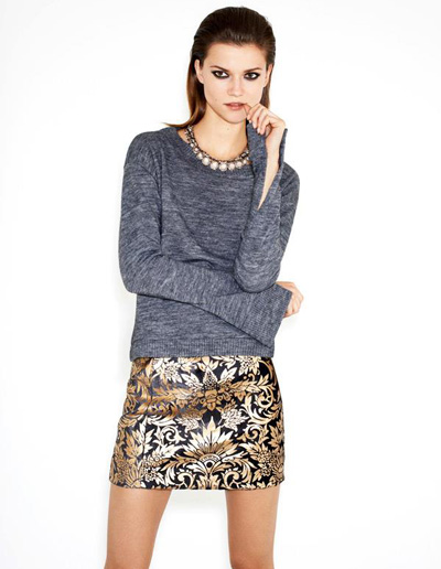 Zara | Damask skirt with comfy sweater