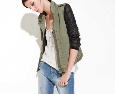 Zara | Military look with leather sleeves
