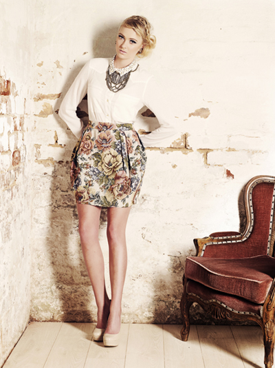 Jacquard Floral skirt from Jo Borkett Winter Collection