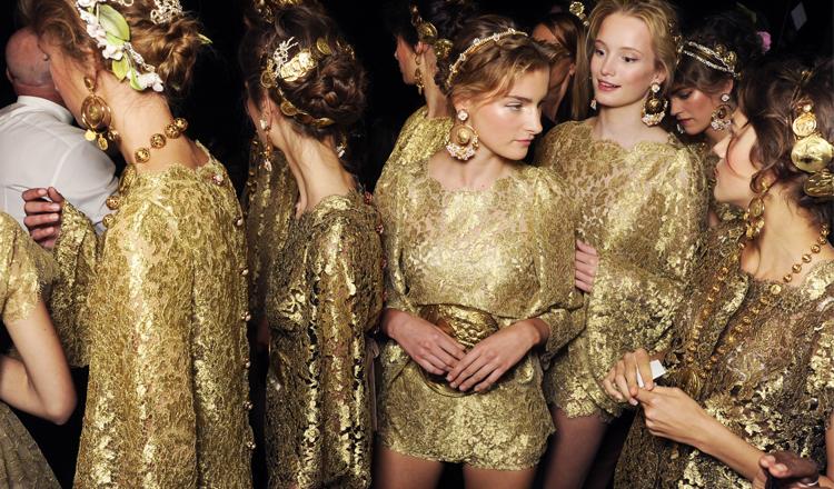 Backstage at Dolce & Gabbana Spring Summer 2014