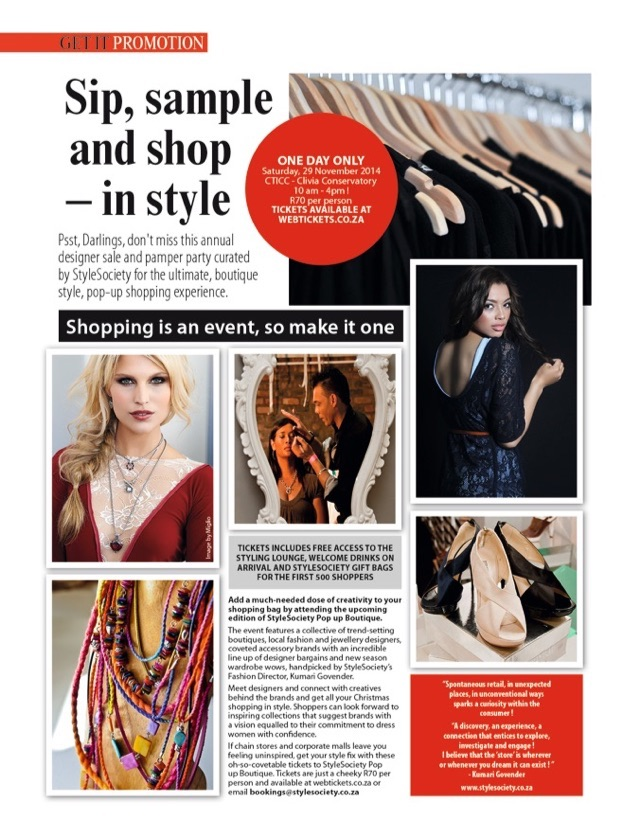 The ultimate, boutique style, pop up shopping #29Nov #CTICC