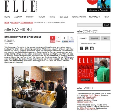 StyleSociety Pop up Boutique | Elle SA