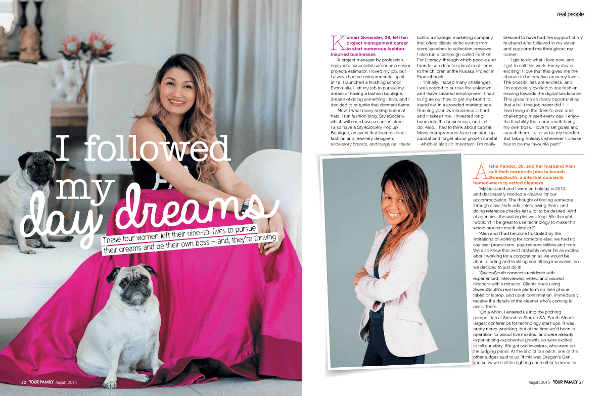 Kumari Govender Your Family Magazine August 2015 - Fashion Career