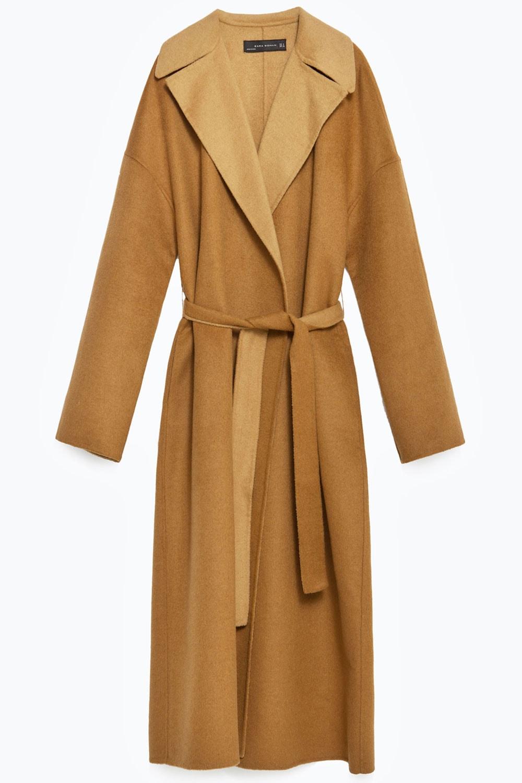 Shin Grazing Minimalist belted coat Camel Zara