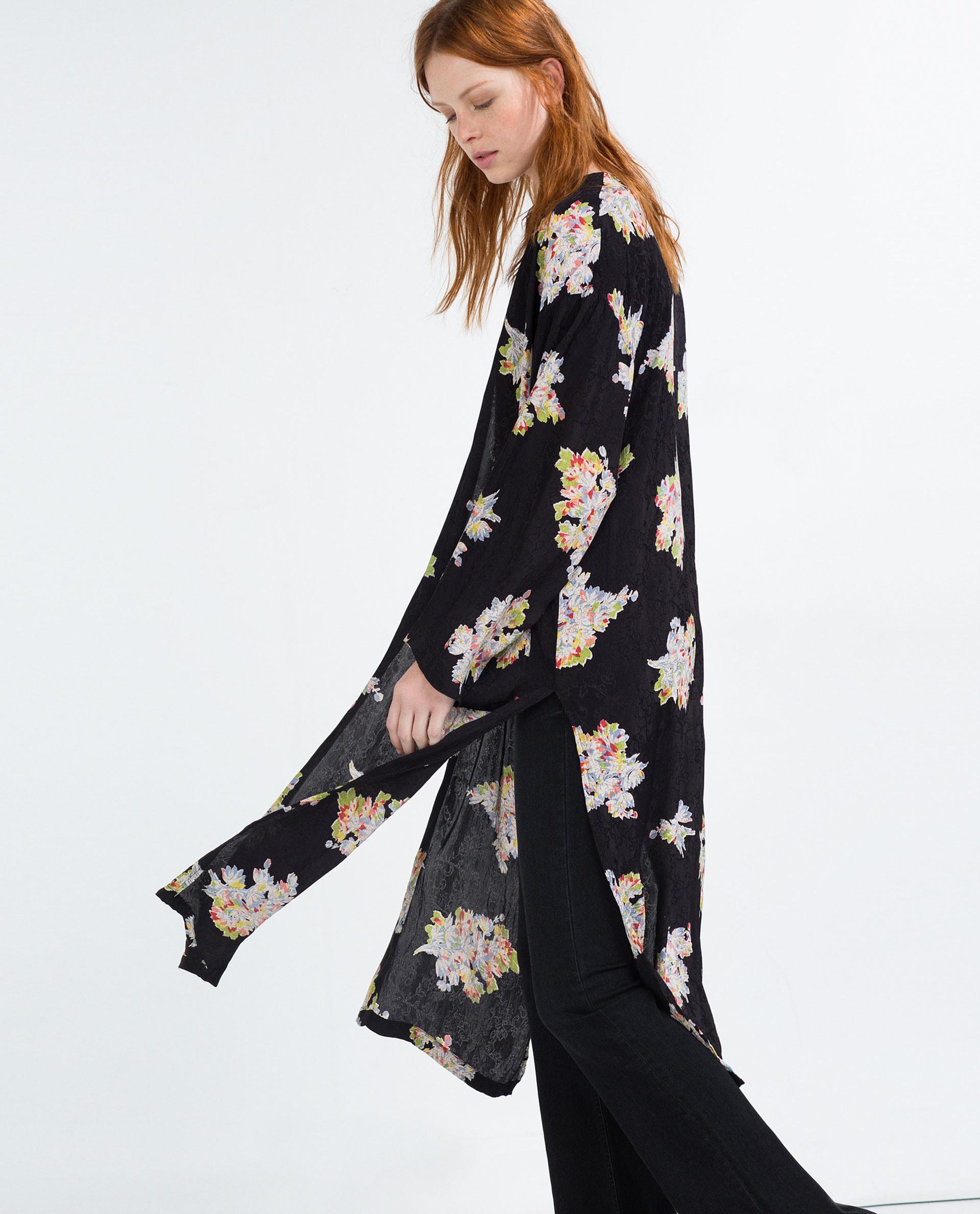 Zara Multicolor Jacquard Print Kimono