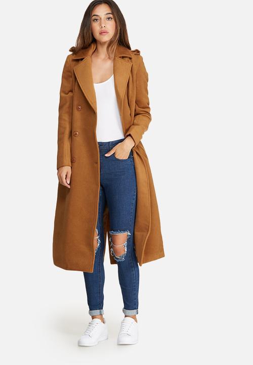 Premium military faux wool maxi coat