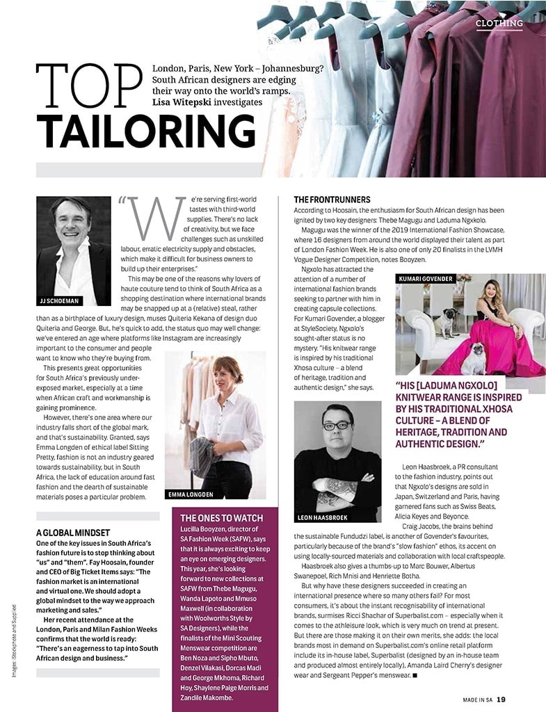 Top Tailoring | South African Fashion Designers