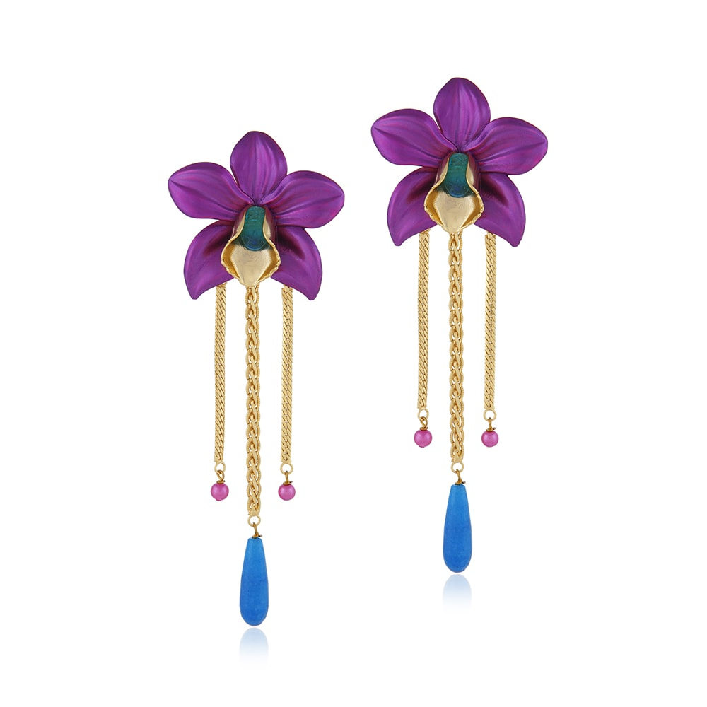 7aa01a3d3 Valliyan 18Kt Gold Plated Wild Orchid Earrings – STYLESOCIETY®