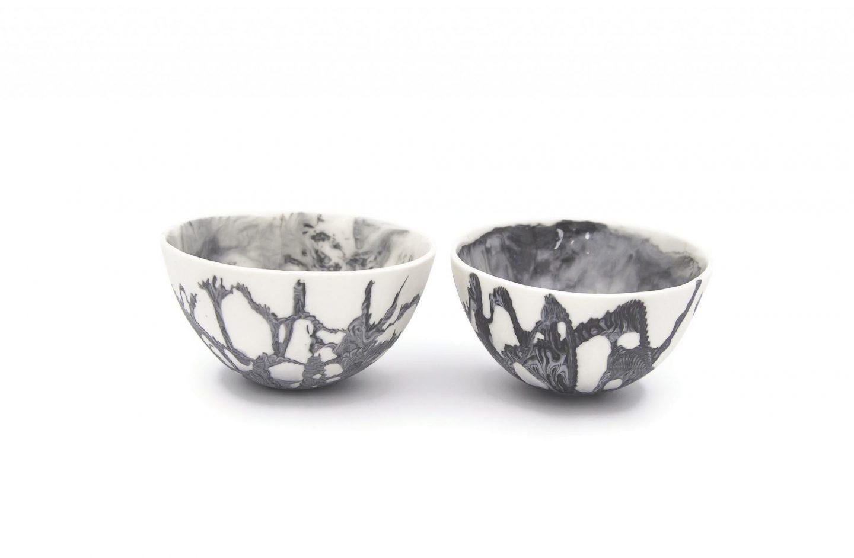 Collectible Porcelain Marble Condiment Bowl