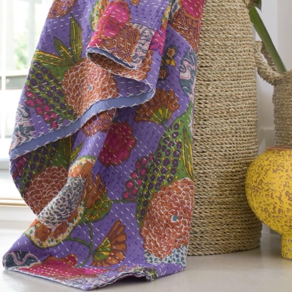 Block Printed Cotton Kantha Quilt Throw